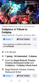 Coldplace tickets 19/9 Redruth