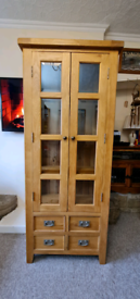 Solid oak cabinet/bookcase/glass display unit