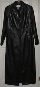 Ladies Long Black Leather-Look Coat Sz 8 Worn Once
