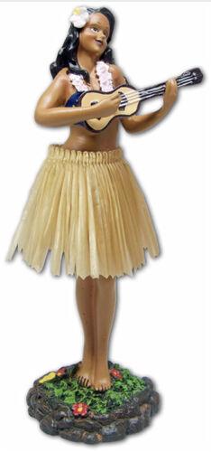 """Dashboard Hula Girl 7"""" Doll Ukulele Player Hawaii Hawaiian Gifts Beige Skirt New"""