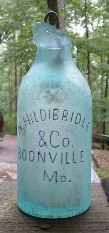 MISSOURI BLOB TOP SODA BOTTLE-N.Hildibridle-Boonville--c1870s