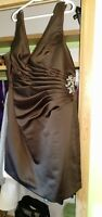 Brown Bridesmaid Dress with rouching and crystal side Broach