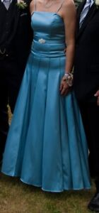 Ice blue gown with jacket - size 10-12