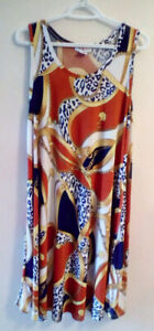 Dress, sleeveless, scarf print .  XL.