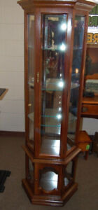 Vintage Pulaski Curio Cabinet Angled Wood Lighted Glass Shelves
