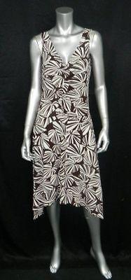 Double V-neck Print Dress (LONDON TIMES Brown/Cream Print Sleeveless Double V-Neck Asymmetric Dress sz)