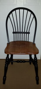 solid pine Fan Back Colonial Wood Chair :Sturdy : Black accents