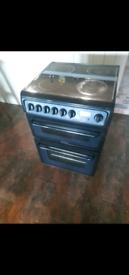 Black 60 cm double fan oven cooker