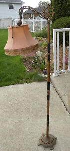 tique FLOOR Parlour LAMP w/Shade CAST IRON BASE Shabby Chic It!