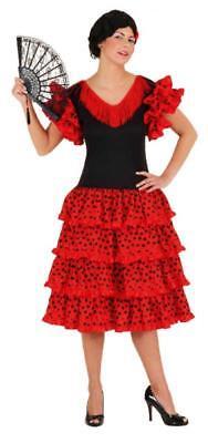 Flamenco Kleid Kostüme (Flamenco Kostüm Kleid Damen Lady Spanierin Seniora Spanier Seniorita Rüschen)