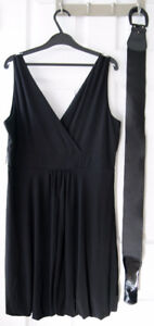 Belted Black Dress Gown, New