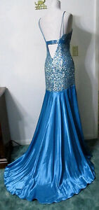 Sherri Hill 4 S Dress Formal Pageant Gown Turquoise Sequins Hi-L