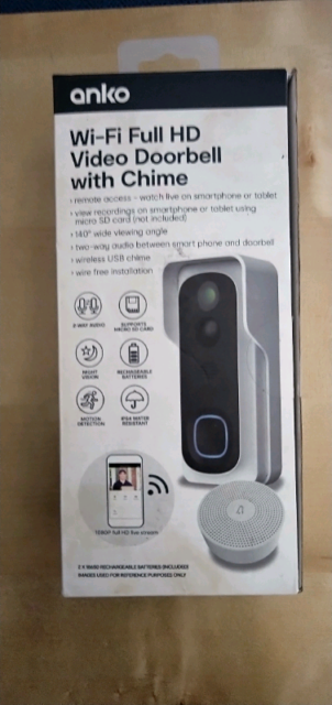 Anko Wifi Full Hd Video Doorbell With Chime Video
