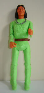 Rare 1967  Marx Lime Green Geronimo Action Figure & Accessories