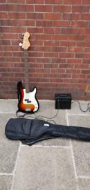 Encore blaster series E4 Bass guitar and Kinman amplifier soft case