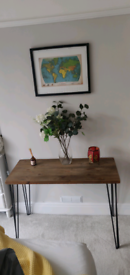 Handmade Scandinavian Solid Wood Desk with cast iron hairpin legs