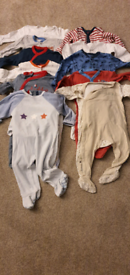 Boys 9 to 12 months long sleeved baby grow bundle