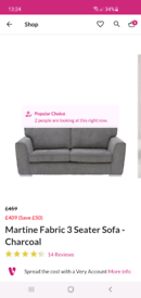 2 3-seater grey sofa / couch