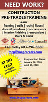 On EI or Unemployed? - FREE Construction Pre-Trades Training