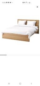 Ikea Malm Double Bed Frame Oak & Memory Foam Mattress VGC