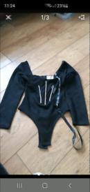 Bnwt suede bodysuit 8