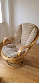 Wicker swivel arm chair