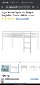 Mid Sleeper Bed in white