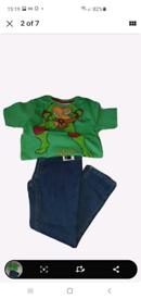 Brand new boys adjustable waist jeans & Ninja Turtles t-shirt age 3-4