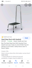 Step stool with hand rail mobility aid