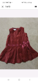 Stunning maroon velvet monsoon dress 3-6 months
