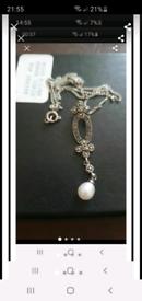 Vintage silver pearl marcasite necklace