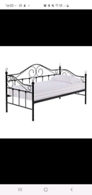 black metal day bed with matress and trundle