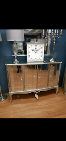 Fabulous Silver Mirrored Four Door Sideboard Brand New