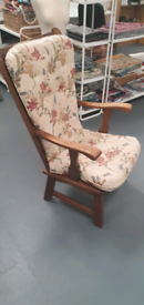 Oak arm chair with cushions