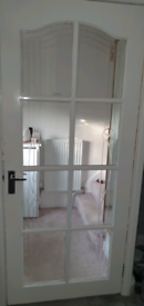 2 SOLID WOOD DOORS WITH GLASS