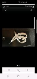 Silver diamante brooch