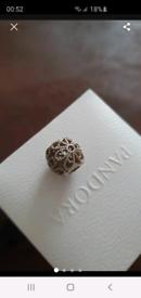 Pandora beaded openwork flower charm