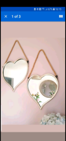 Fabulous Large Pair Of Silver Wall Heart Mirrors Brand New