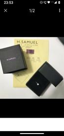 BEAUTIFUL H SAMUEL 9CT WHITE GOLD .25CT DIAMOND RING COST £799 NEW ORI