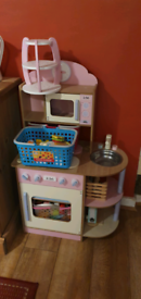 Wooden Toy Kitchen in Pink With Accessories