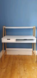 White desk with shelf