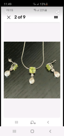 Silver lime pearl necklace and earrings set