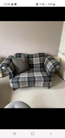 Dfs Moray Cuddle Chair with cushion and matching footstool