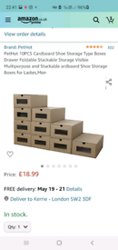 10PCS Cardboard Shoe Storage Boxes Drawer Foldable Stackable