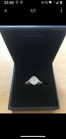 BEAUTIFUL H SAMUEL 9CT WHITE GOLD .66CT DIAMOND RING COMPLETE WITH DIA