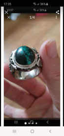 Mens solid heavy silver ring