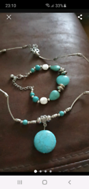 Turquoise necklace and bracelet