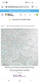 Brand new Moroccan tile style vinyl flooring 4x5m