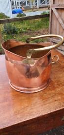 Copper coal scuttle fire bucket planter