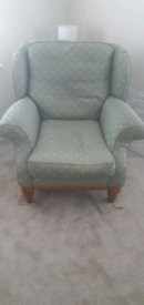 2 x Ducal armchairs in green/gold fabric. Used